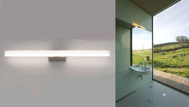 linestra diffuse light wall luminaire with fluorescent bulb or led brushed stainless steel lamp holder osram
